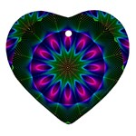 Star Of Leaves, Abstract Magenta Green Forest Heart Ornament Front