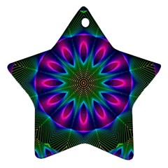 Star Of Leaves, Abstract Magenta Green Forest Star Ornament