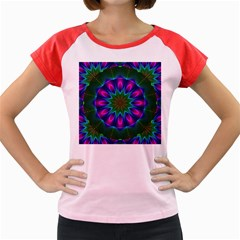 Star Of Leaves, Abstract Magenta Green Forest Women s Cap Sleeve T-Shirt (Colored)