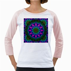 Star Of Leaves, Abstract Magenta Green Forest Women s Long Cap Sleeve T Shirt (white)
