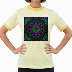 Star Of Leaves, Abstract Magenta Green Forest Women s Ringer T Shirt (colored)