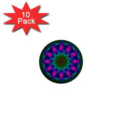 Star Of Leaves, Abstract Magenta Green Forest 1  Mini Button (10 pack)