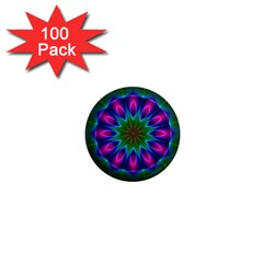 Star Of Leaves, Abstract Magenta Green Forest 1  Mini Button Magnet (100 Pack)
