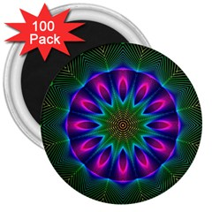 Star Of Leaves, Abstract Magenta Green Forest 3  Button Magnet (100 pack)