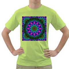 Star Of Leaves, Abstract Magenta Green Forest Men s T-shirt (Green)