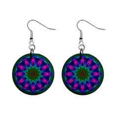 Star Of Leaves, Abstract Magenta Green Forest Mini Button Earrings
