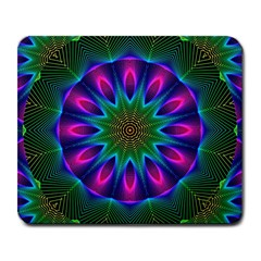 Star Of Leaves, Abstract Magenta Green Forest Large Mouse Pad (rectangle)