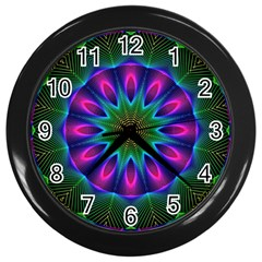 Star Of Leaves, Abstract Magenta Green Forest Wall Clock (Black)