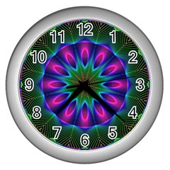 Star Of Leaves, Abstract Magenta Green Forest Wall Clock (Silver)