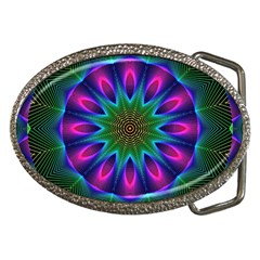 Star Of Leaves, Abstract Magenta Green Forest Belt Buckle (oval)