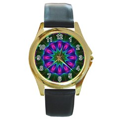Star Of Leaves, Abstract Magenta Green Forest Round Leather Watch (Gold Rim)