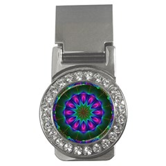 Star Of Leaves, Abstract Magenta Green Forest Money Clip (cz)