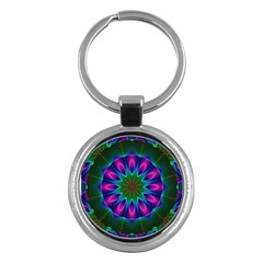 Star Of Leaves, Abstract Magenta Green Forest Key Chain (Round)
