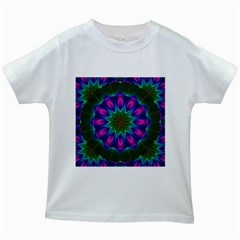 Star Of Leaves, Abstract Magenta Green Forest Kids T Shirt (white)