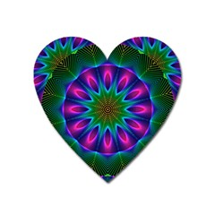 Star Of Leaves, Abstract Magenta Green Forest Magnet (Heart)