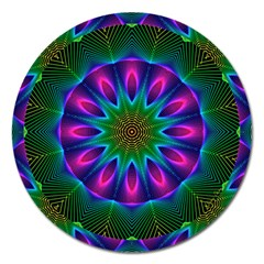 Star Of Leaves, Abstract Magenta Green Forest Magnet 5  (round)
