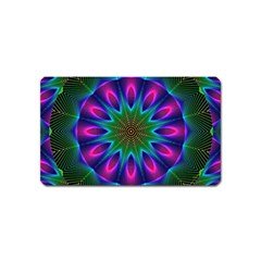Star Of Leaves, Abstract Magenta Green Forest Magnet (name Card)