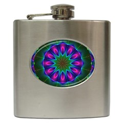 Star Of Leaves, Abstract Magenta Green Forest Hip Flask