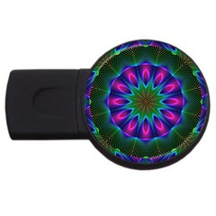 Star Of Leaves, Abstract Magenta Green Forest 1GB USB Flash Drive (Round)