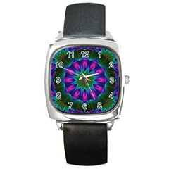 Star Of Leaves, Abstract Magenta Green Forest Square Leather Watch