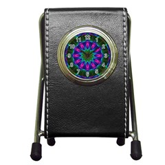 Star Of Leaves, Abstract Magenta Green Forest Stationery Holder Clock