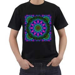 Star Of Leaves, Abstract Magenta Green Forest Men s Two Sided T Shirt (black)