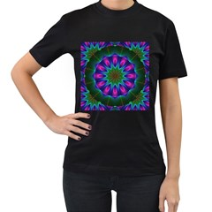 Star Of Leaves, Abstract Magenta Green Forest Women s Two Sided T-shirt (Black)