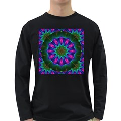 Star Of Leaves, Abstract Magenta Green Forest Men s Long Sleeve T-shirt (Dark Colored)