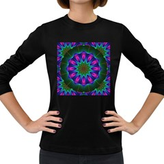 Star Of Leaves, Abstract Magenta Green Forest Women s Long Sleeve T-shirt (Dark Colored)