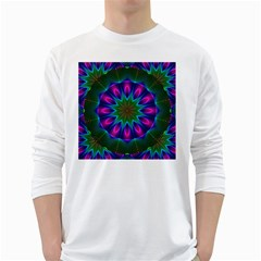 Star Of Leaves, Abstract Magenta Green Forest Men s Long Sleeve T-shirt (White)