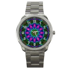 Star Of Leaves, Abstract Magenta Green Forest Sport Metal Watch