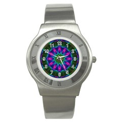 Star Of Leaves, Abstract Magenta Green Forest Stainless Steel Watch (Slim)