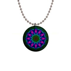 Star Of Leaves, Abstract Magenta Green Forest Button Necklace