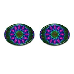 Star Of Leaves, Abstract Magenta Green Forest Cufflinks (oval)
