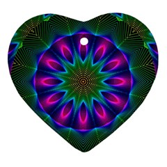 Star Of Leaves, Abstract Magenta Green Forest Heart Ornament (Two Sides)