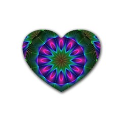 Star Of Leaves, Abstract Magenta Green Forest Drink Coasters 4 Pack (heart)