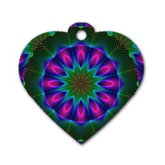 Star Of Leaves, Abstract Magenta Green Forest Dog Tag Heart (Two Sided)
