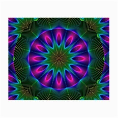 Star Of Leaves, Abstract Magenta Green Forest Glasses Cloth (Small, Two Sided)