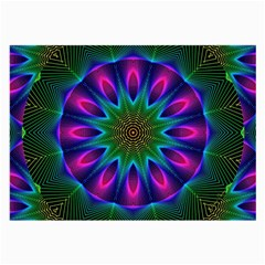 Star Of Leaves, Abstract Magenta Green Forest Glasses Cloth (large)