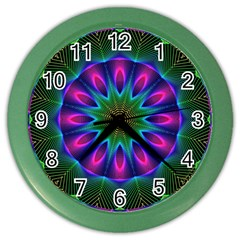 Star Of Leaves, Abstract Magenta Green Forest Wall Clock (color)