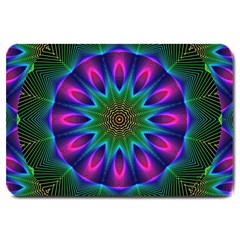 Star Of Leaves, Abstract Magenta Green Forest Large Door Mat