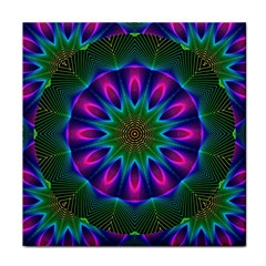 Star Of Leaves, Abstract Magenta Green Forest Face Towel