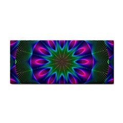 Star Of Leaves, Abstract Magenta Green Forest Hand Towel