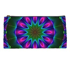 Star Of Leaves, Abstract Magenta Green Forest Pencil Case