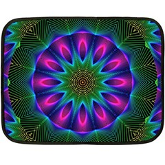 Star Of Leaves, Abstract Magenta Green Forest Mini Fleece Blanket (Two Sided)