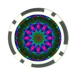 Star Of Leaves, Abstract Magenta Green Forest Poker Chip (10 Pack)