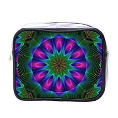 Star Of Leaves, Abstract Magenta Green Forest Mini Travel Toiletry Bag (one Side)
