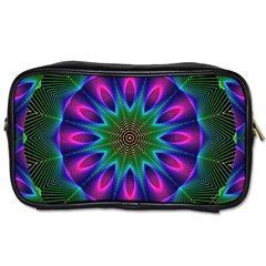 Star Of Leaves, Abstract Magenta Green Forest Travel Toiletry Bag (two Sides)