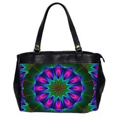 Star Of Leaves, Abstract Magenta Green Forest Oversize Office Handbag (two Sides)