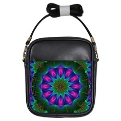 Star Of Leaves, Abstract Magenta Green Forest Girl s Sling Bag